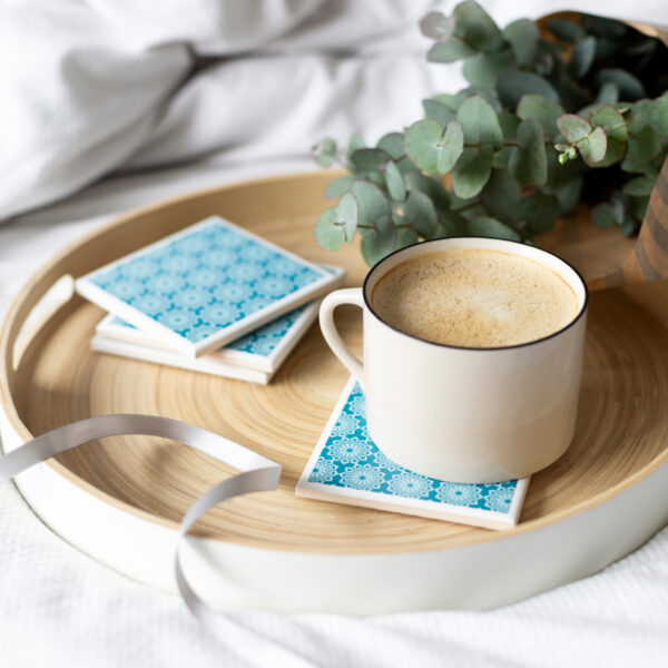 Tile Coasters in Teal Lace by Yellow Room Designs