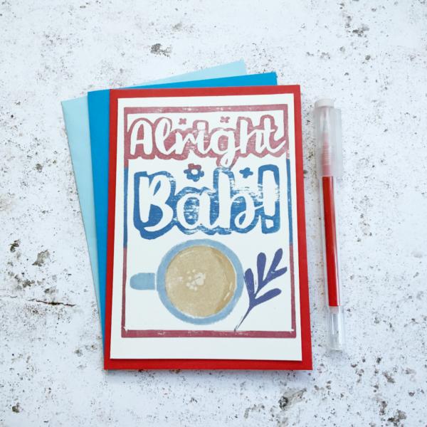 Fussy Geek Wares, Alright bab greetings card