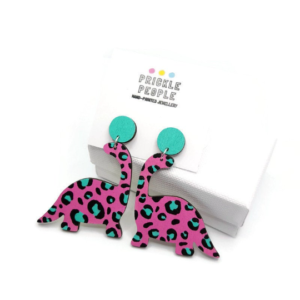 Large Dinosaur Statement Earrings, Laser cut in wood and hand painted with Pink and Turquoise Leopard print