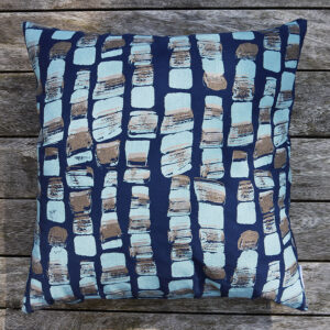 Ailsa Lishman Hand screen printed Hebble cushion in navy blue and gold.