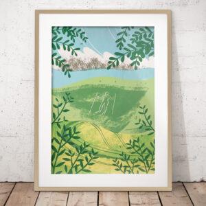Sally Elford Illustration and Design, The Longman of Wilmington Silkscreen print