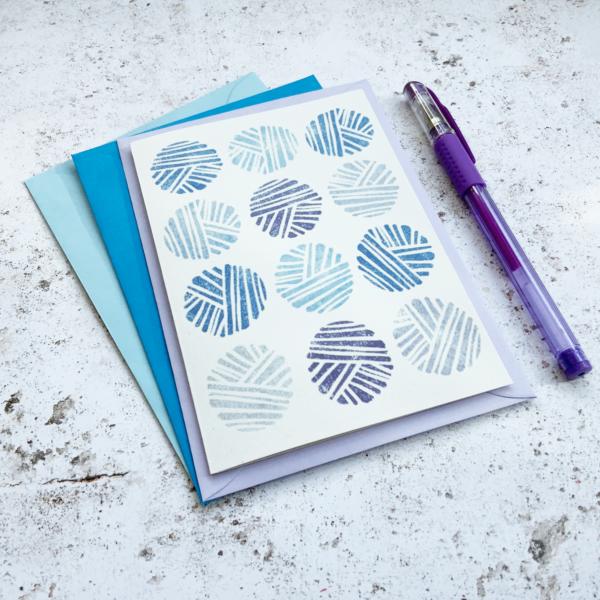 Fussy Geek Wares, Purple yarn ball greetings card