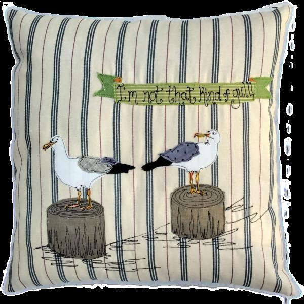 Mae Kandoo Seagull cushion Not that kind of gull