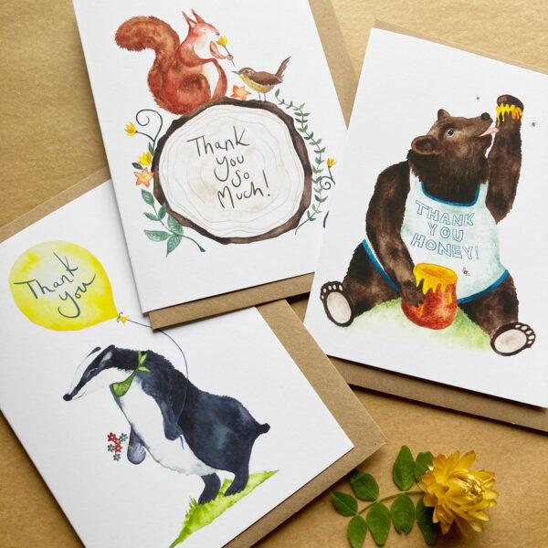 Woodland Animal Thank You Cards