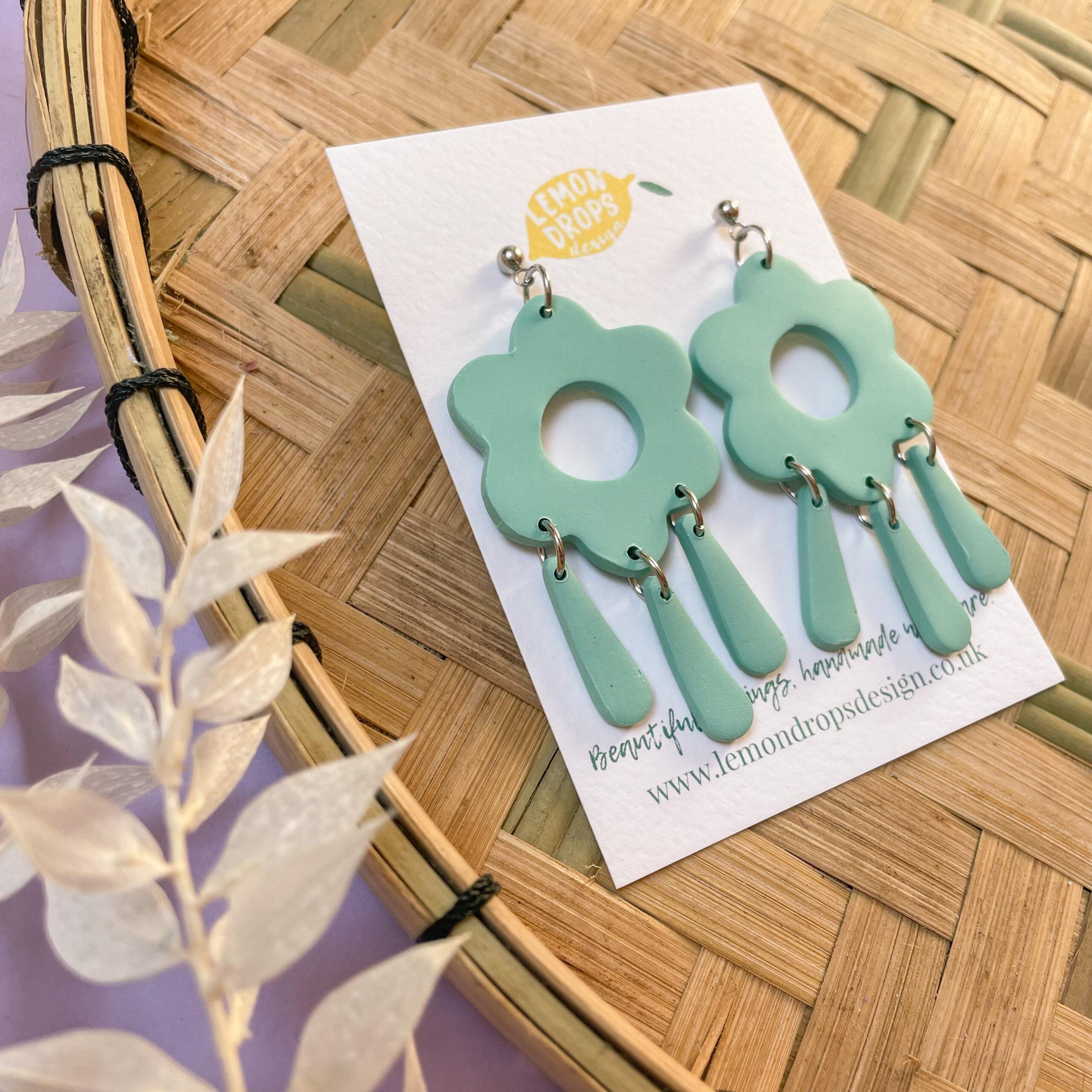Green Posy Drop Earrings by Lemon Drops Design