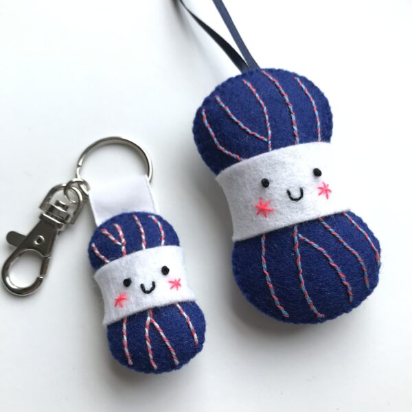 Yarn Ball shaped lavender bag with smiley face and matching keyring