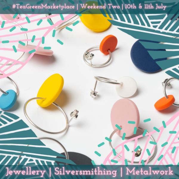 Selection of earrings by Beth Lamont Tea Green Marketplace Weekend Two