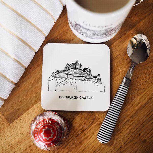Edinburgh castle print on a square white coaster with cork base