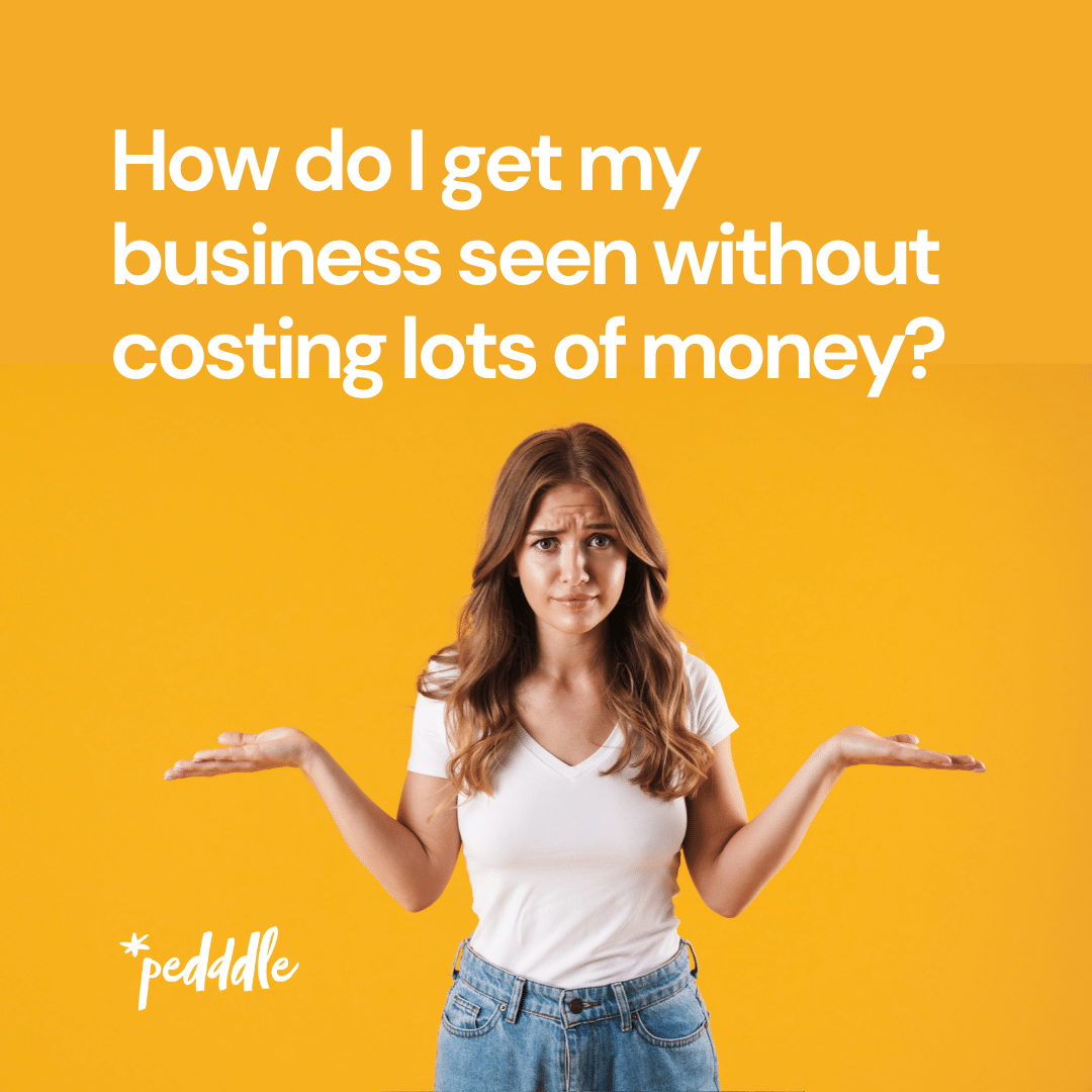 Visibility hacks for small businesses - confused girl on yellow background