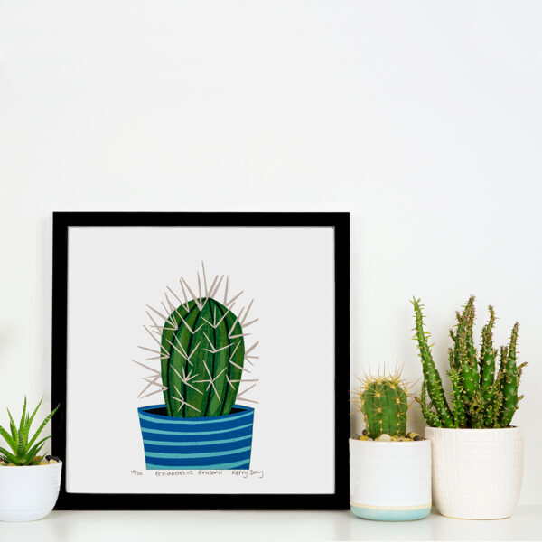 Cactus Colourful Botanical Lino Print in a frame