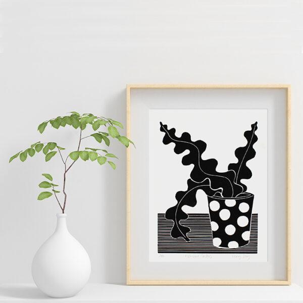 Fishbone Cactus Black and white botanical lino print in frame