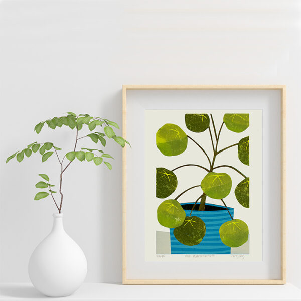 Kerry Day Arts Pilea Peperoiodies Reduction Lino Print £75 in frame