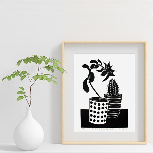 Kerry Day Arts The Succulent and The Cactus Black and White Lino Print £50 in frame