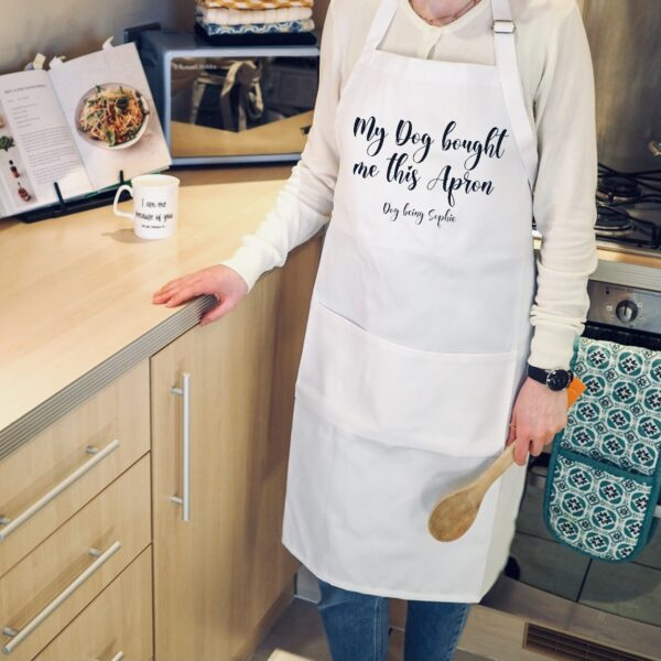 White apron with personalised text