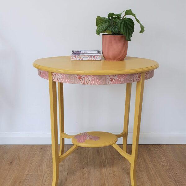 The Present Home Upcycled Yellow and Pink Decorative Table
