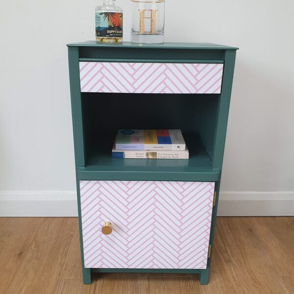 The Present Home Small Green and Pink Herringbone Upcycled Cabinet