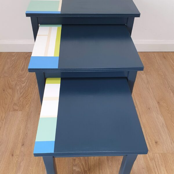 The Present Home Upcycled and Hand Painted Ocean Blue Set of 3 Nest of Tables