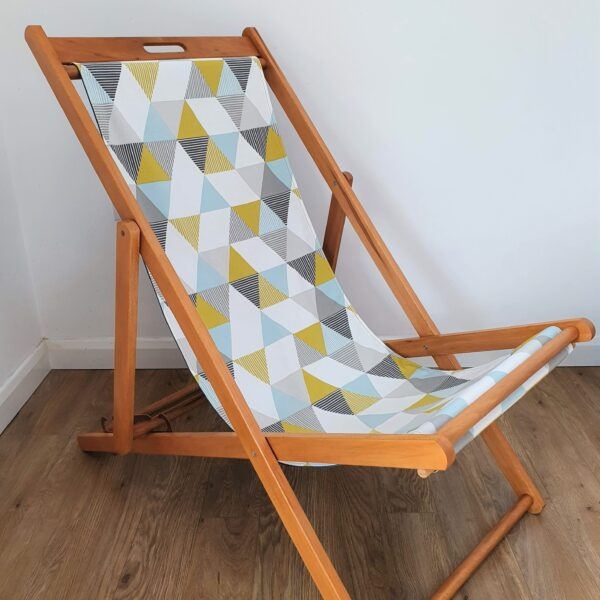 The Present Home Upcycled Deckchair with Geometric Print Fabric Seat