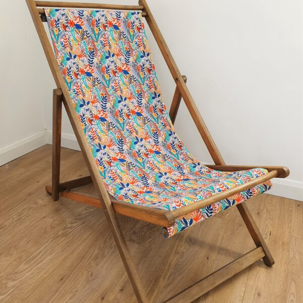 The Present Home Upcycled Deckchair with Floral Print Fabric Seat