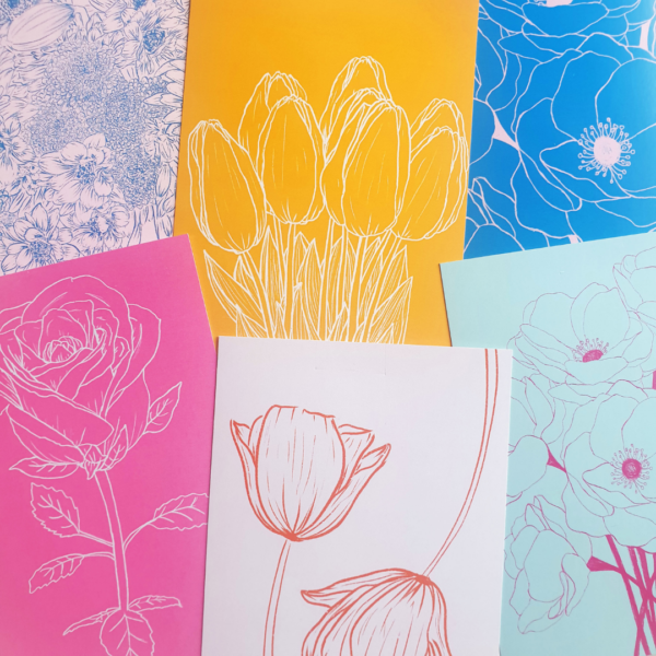 Bloom by Han. Set of 6 A6 Floral Postcard Prints. Colourful Line Drawing Illustrations
