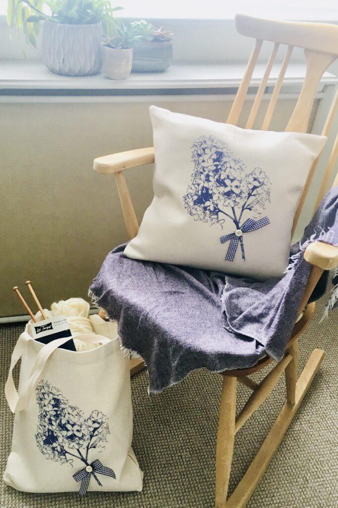 Jardinera Studio, Lilac Cushion & Tote Bag