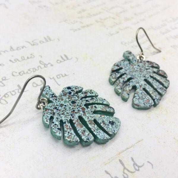 monstera leaf aquamarine wooden dangle earrings by Bowerbird Jewellery