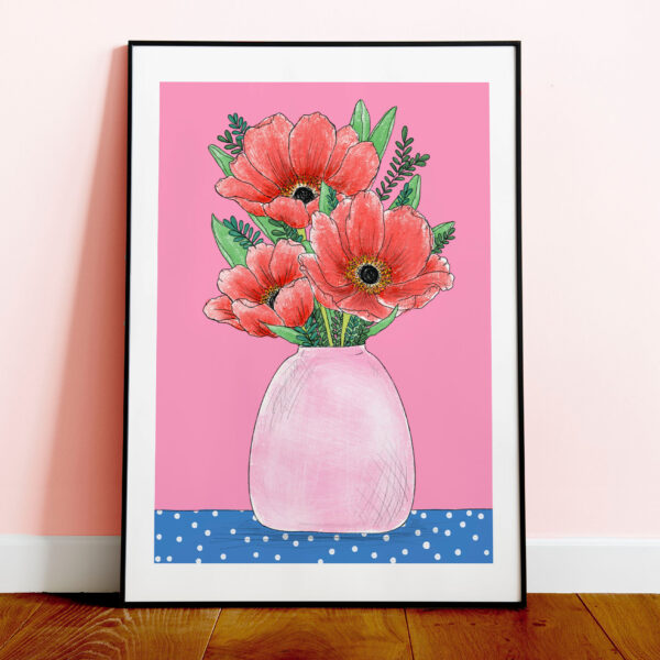 Bloom by Han. Poppy Vase A4 Print Illustration. Red and Pink Colourful Wall Art in wooden frame