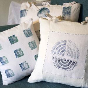 Rachel Fearnley Textile Designs three linen cushions