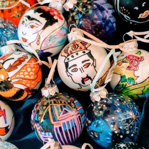 Mushypeadesign a basketful of Baubles - hand painted glass Christmas tree ornaments