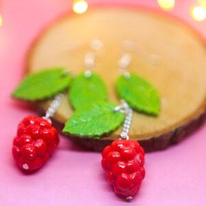 Patisserie, Handmade Polymer Clay Raspberry Earrings