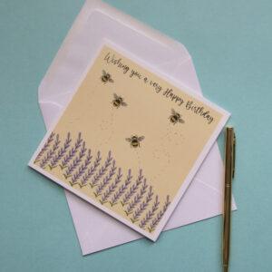 Sun & Moon Studio, Bumble Bee Wishing you a very Happy Birthday Card