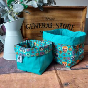 Missus Stitches Day of the Dead Fabric Nesting Basket set, turquoise, Medium & Small