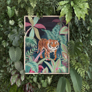 Animeeko Designs, Illustrated Colourful tiger jungle art print in wooden frame on living wall