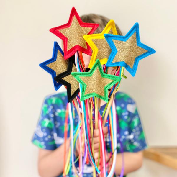 Gold Star Rainbow Ribbon Wands