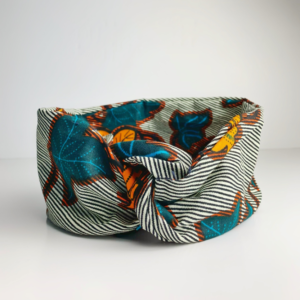 Teal, Yellow and Black African Print Wired Wide Headband