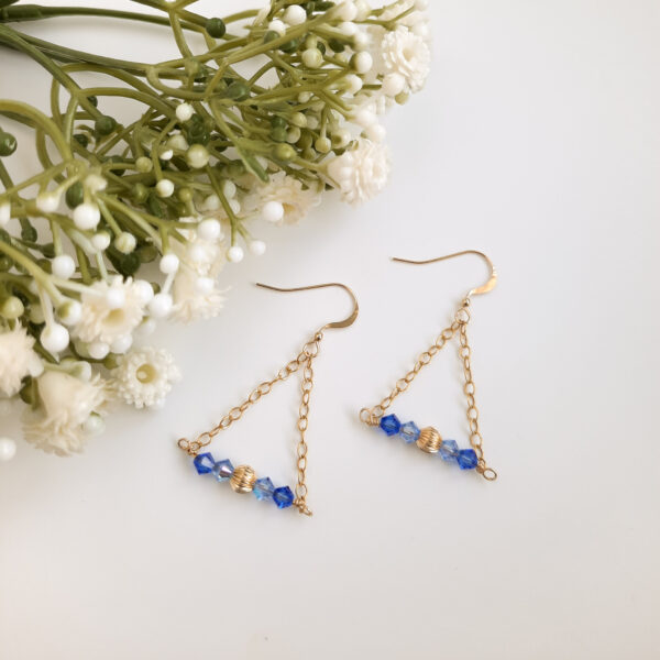 Watermeadow Lane Jewellery, Golden sapphire triangle earrings with gold filled earring wire.