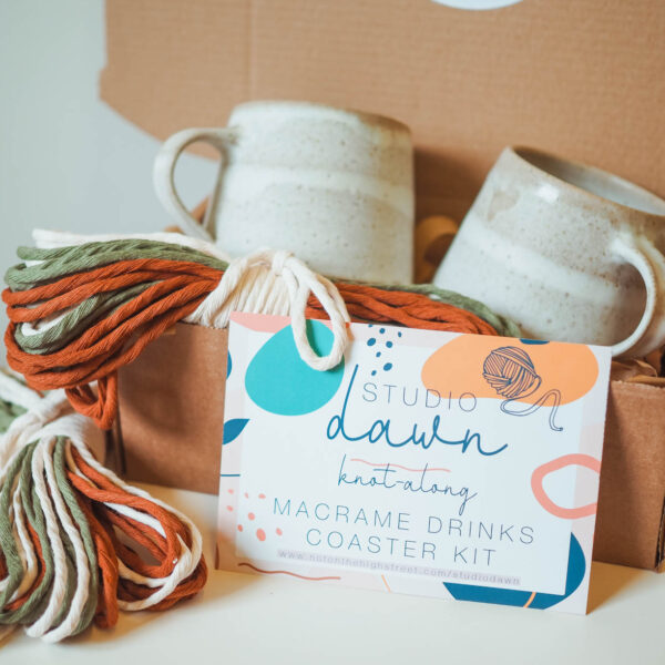 A picture of a macrame kit used to make drinks coasters.