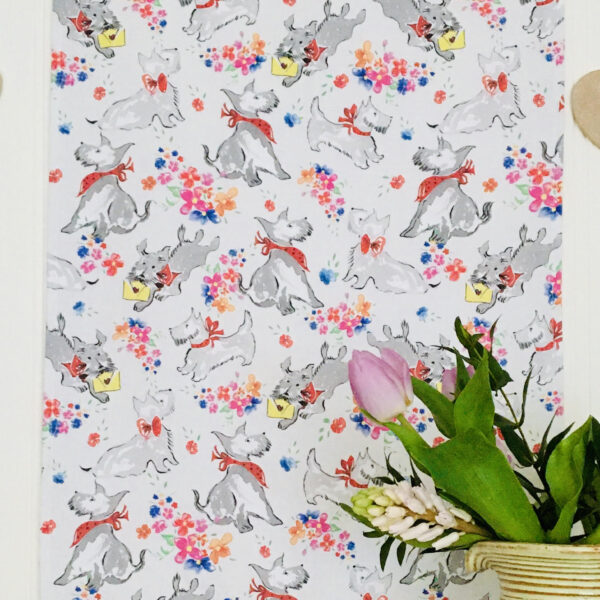 T towel showing Scottie dogs and pretty flowers