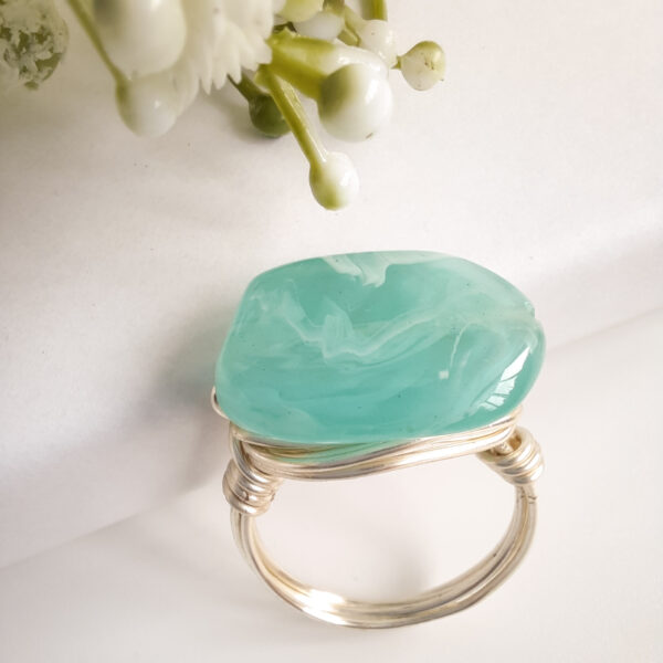 Watermeadow Lane Jewellery, Turquoise wire wrapped Ring