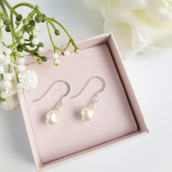 Watermeadow Lane Jewellery, vintage style freshwater pearl earrings with sterling silver ear wire.