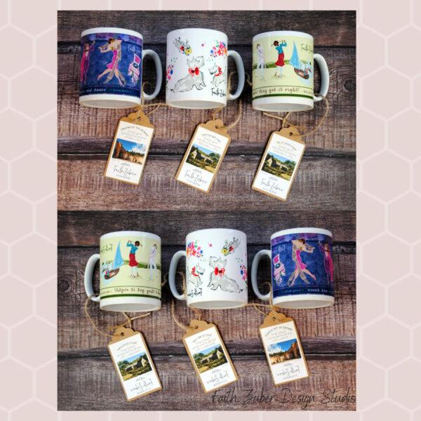 Vintage inspired patterned mugs.