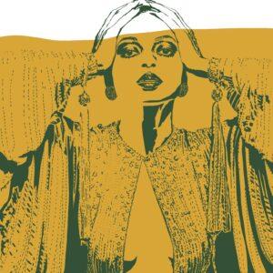 House of Marsha, DIANA illustration, diana ross, green and yellow print