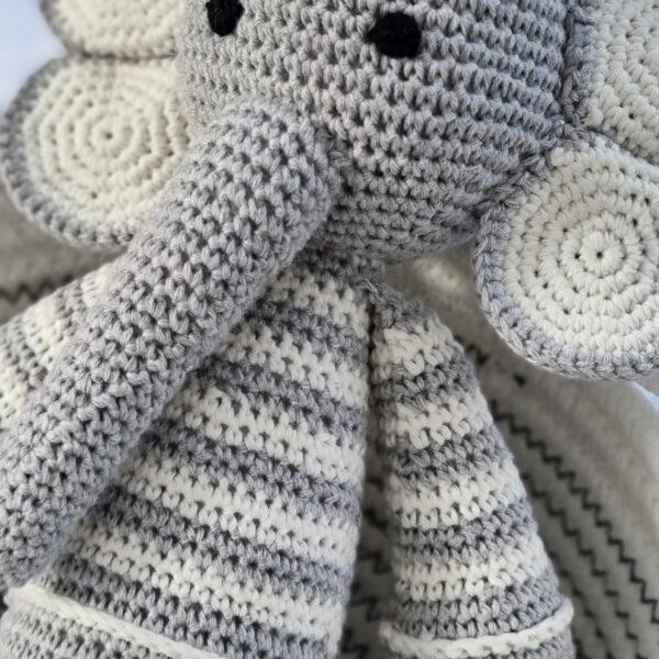 Amaris and Chaya grey crochet Elephant toy