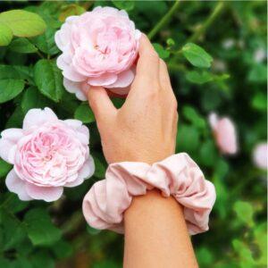 Vegan bamboo silk natural dye scrunchies in pink
