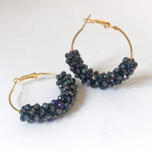 Perabeam Creations Crystal Beaded Hoop Earrings